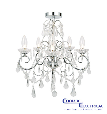 Vela 5 light chandelier for bathroom coombe electrical vela 5 light chandelier mozeypictures Images